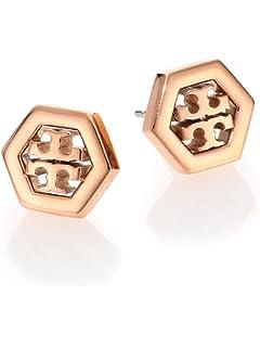 56b446fbf Amazon.com: Tory Burch Logo Pearl Drop Earrings: Jewelry