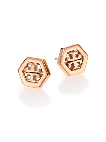e89157c07 Amazon.com: Tory Burch Hex-Logo Stud Earrings 16k Rose Gold: Jewelry