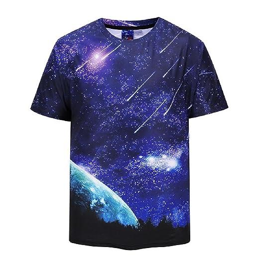 9351acf551670e Comaba Men s Printing Woven Stars Sky T Shirts All Over Tie-Dye Dress Shirt  XS
