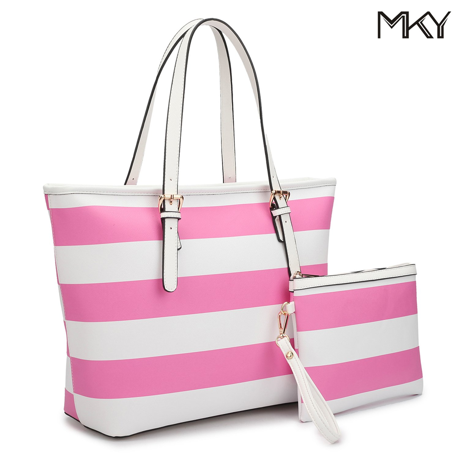 Large Travel Tote Leather Zipper Shoulder Handbag Top Handle Two Tone Purse Wallet Set Pink/White