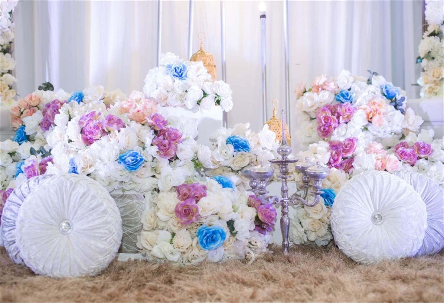 GoEoo Vinyl 8x6.5ft Romantic Valentines Day Photography Background Beautiful Flower Sports Car White Cushion Wheels Hay Ground Backdrops Wedding Ceremony Decoration Lovers Couple Photo Shooting