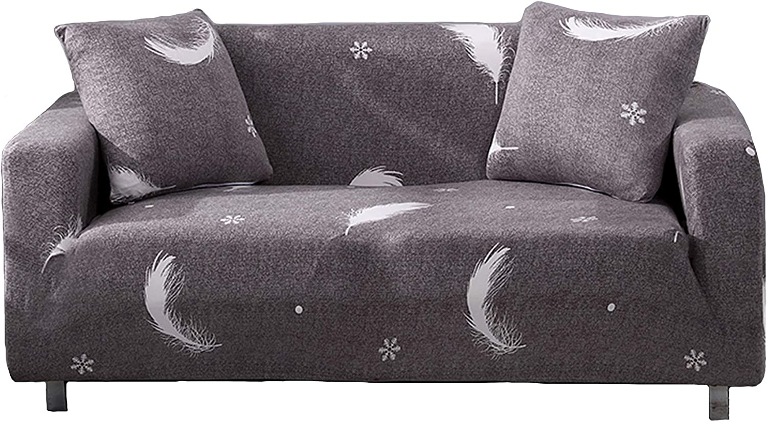 Novelome Soft Fitted Stretch Sofa Slipcover - Stylish Modern Pattern Designs - Furniture Couch Protector Include Pillow Cases – All Seasons Fall Winter Spring Summer (Feather Three Seaters)