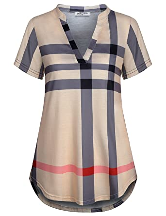 Image result for SeSe Code Women's Notch V Neck Short Sleeve Plaid Casual Shirt Tunic Blouse Top