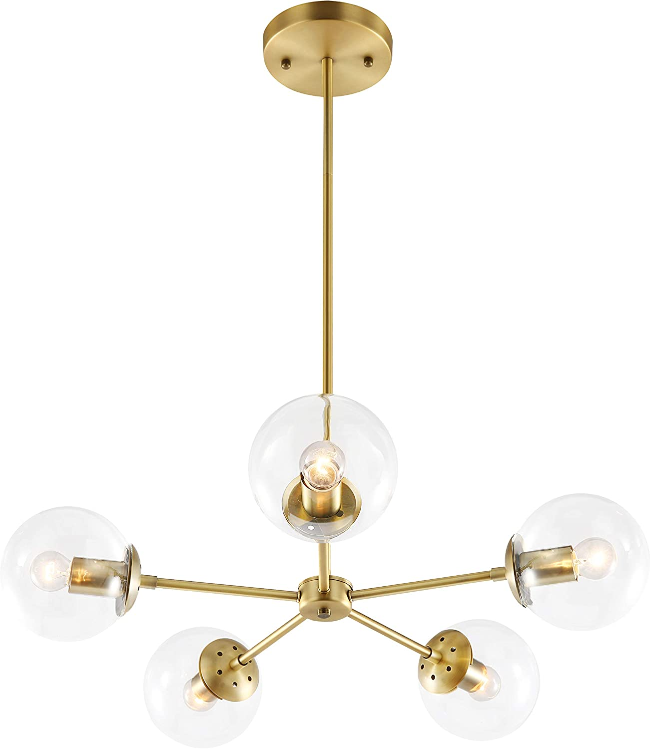 Light Society Grammercy 5-Light Chandelier Pendant, Brushed Brass with Clear Glass Globes, Classic Mid Century Modern Lighting Fixture LS-C228-BRS-CLR