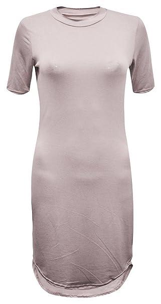 GirlzWalk ® Frauen Gebogene 3/4 Kurze Ärmel Polo Ansatz Mini Tunika Partei  Kleid Top