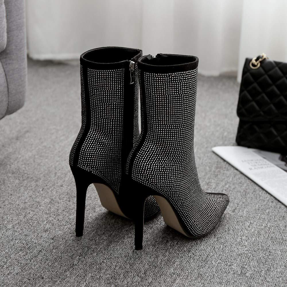 GoldGOD Frauen Damen High Heels Strass Pailletten Spitzen Damen Stiefel Stiefel Stiefel Fein Mit Party Schuhe,schwarz,40 d608d0