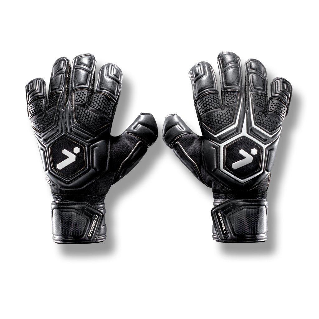 Storelli Gladiator Pro 2 Goalkeeper Gloves |High Perfomance Soccer  Goalkeeper  Gloves |Highest Grade German Latex |Sweat-Wicking|Black by Storelli (Image #1)