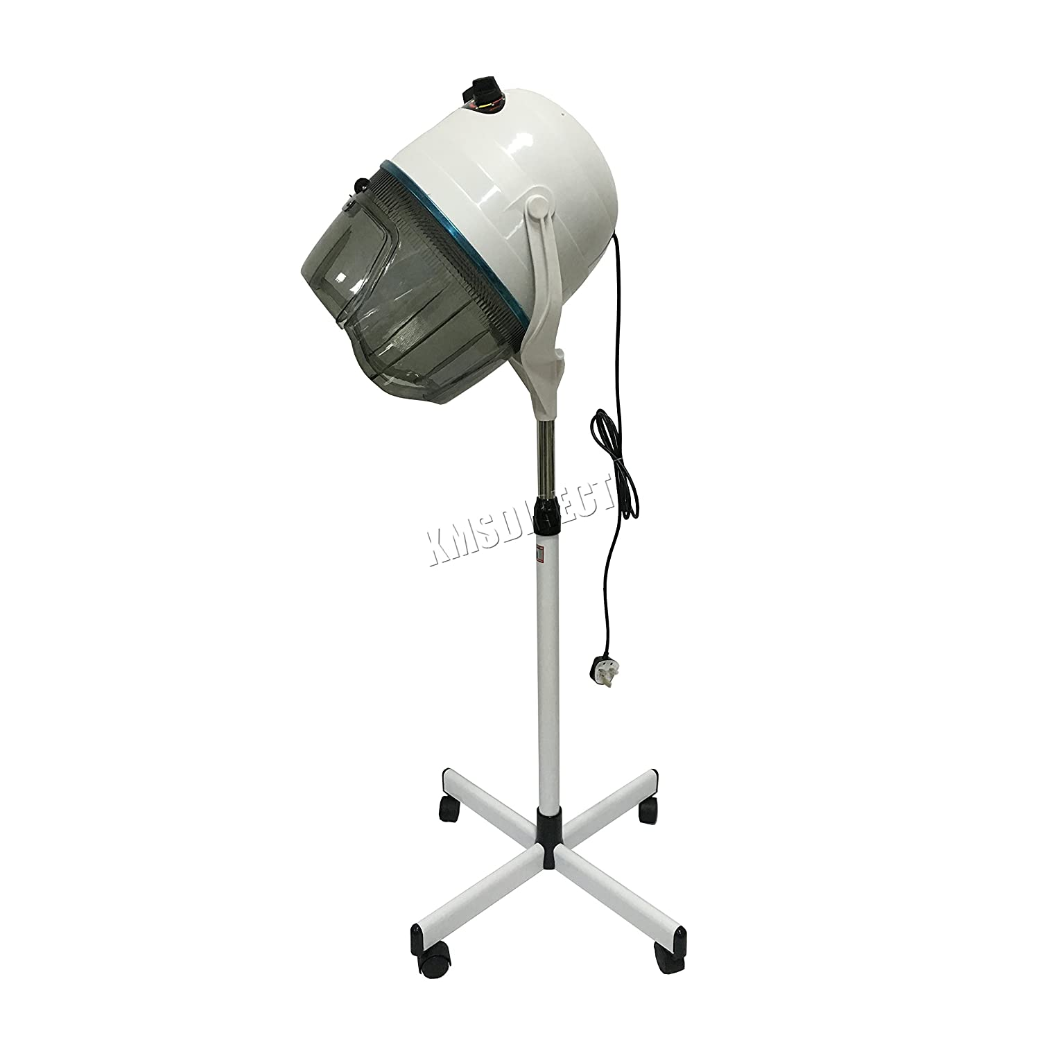 FoxHunter Portable Salon Hair Hood Dryer Stand Up Bonnet Professional Hairdresser Styling Timer Temperature Adjustable White HHD-01 1000W New KMS
