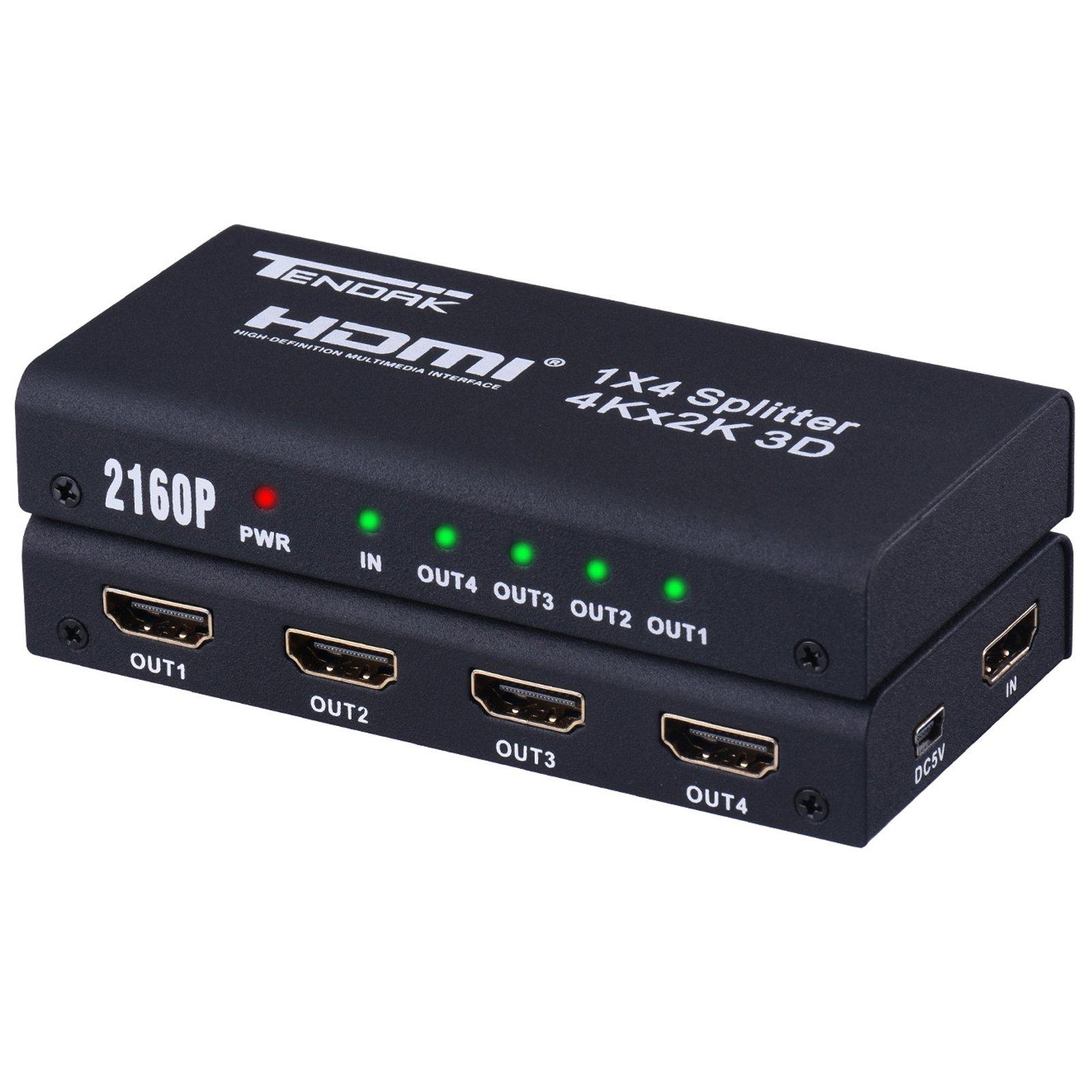 1X4 HDMI Splitter - Tendak 1 In 4 Out HDMI Powered Splitter Amplifier Signal Distributor Support 4K@30HZ 1080P 3D for Roku DirecTV PS3/4 Xbox Blu-ray