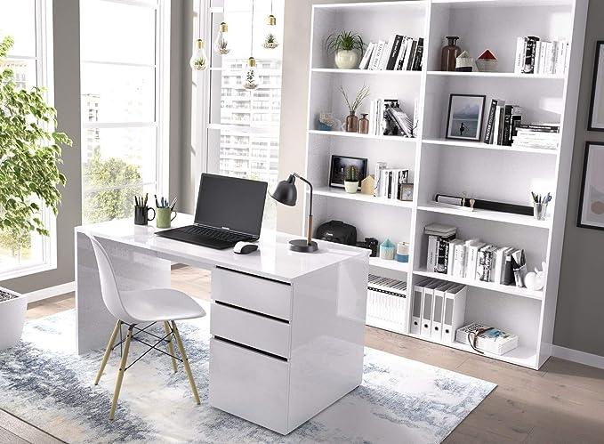 LIQUIDATODO ® - Mesa de estudio 139 cm moderna y barata en blanco ...