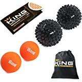 Massage Ball Set 6-in-1 - Muscle Recovery for Athletes - Two (2) Trigger Point Spiky Balls and Two (2) Natural Rubber Lacrosse Balls - Deep Tissue, Myofascial Release, Plantar Fasciitis Therapy
