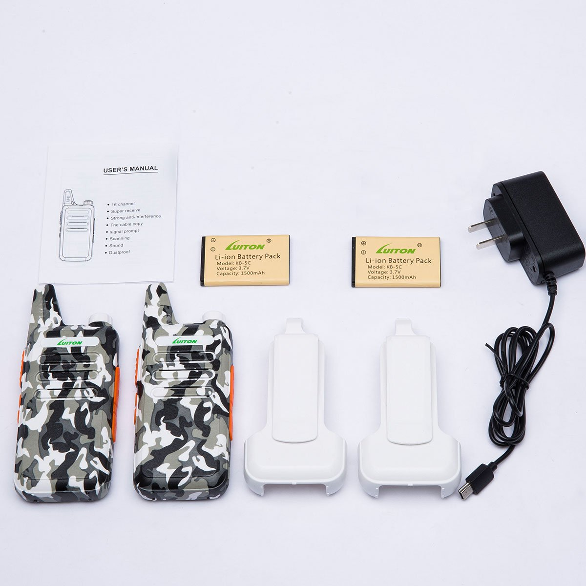 2 Way Radio Walkie Talkies Long Range for Outdoor Camping Hiking Hunting Activities LT-316 Military Camo Mini Uhf Rechargeable Two-Way Radio 5-10 Miles Back to School Ideal Gifts by LUITON (2 Pack) by LUITON (Image #6)