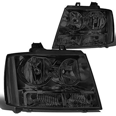 Pair Smoked Housing Clear Side Headlight Lamps Replacement for Chevy Tahoe/Suburban/Avalanche 07-14: Automotive