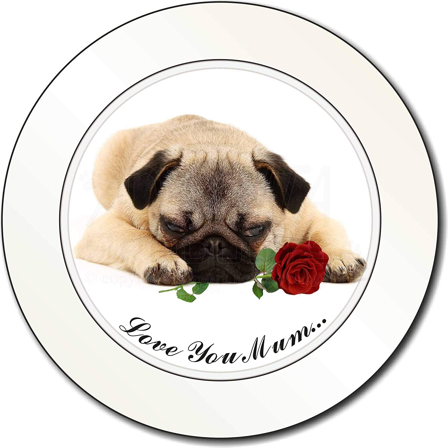 Advanta Group Fawn Pug with Rose 'Love You Mum' Car/Van Permit Holder/Tax Disc Gift Advanta Products