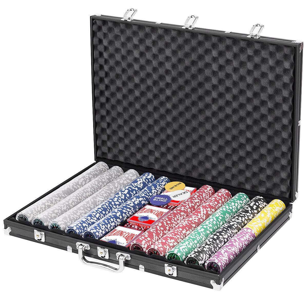 1000 Chips Poker Chip Set 11.5 Gram Holdem Cards Game with Black Aluminum Case by MB-TGamestar