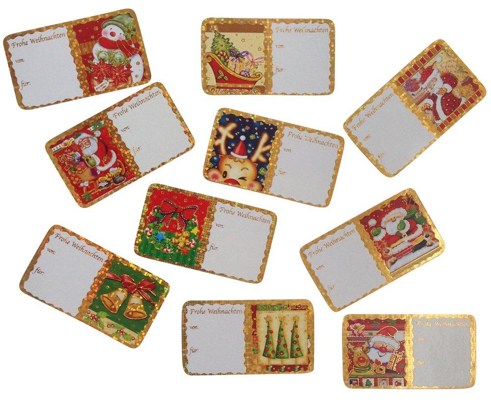 120 Weihnachtsetiketten, 10 verschiedene Weihnachtsmotive, 2 x 60 ...