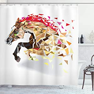 Ambesonne Diamond Shower Curtain, Disappearing Wild Horse in Digital Polygonal Geometric Modern Design Cubism Art, Cloth Fabric Bathroom Decor Set with Hooks, 75