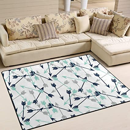 Amazon.com: Gaz X Dark Arrow Navy Mint Grey Area Rug Rugs ...