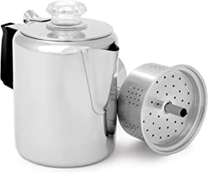 GSI Outdoors Glacier Stainless Steel Percolator Coffee Pot with Silicone Handle for Camping and Backpacking   For Individuals and Groups