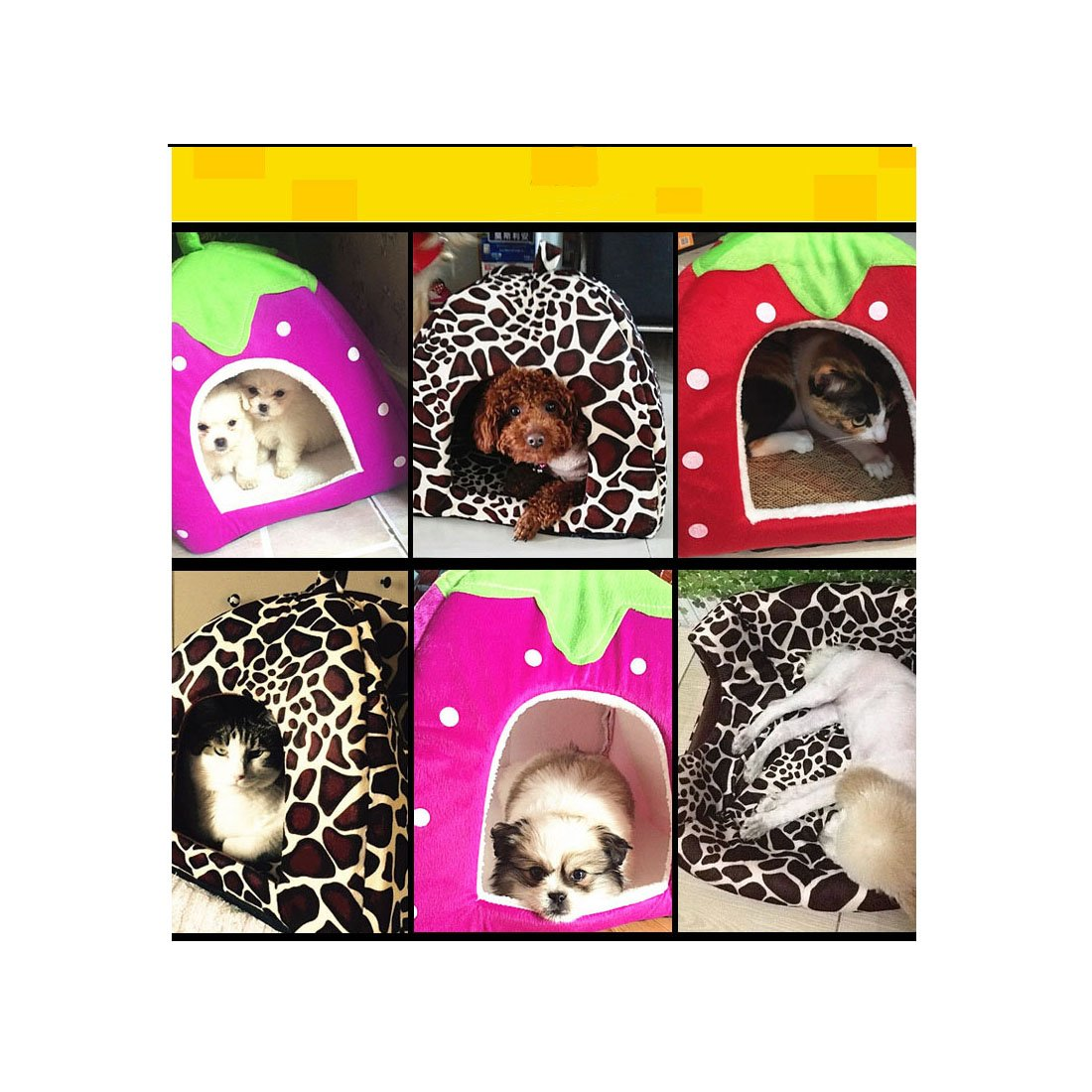 angelakerry mascota perro gato cama Cálido Cojín Casa Fresas Caseta de perro suave cama nueva Varios Tamaño: Amazon.es: Productos para mascotas