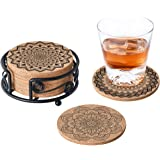 GALAROES Natural Cork Coasters with Metal Holder set of 8 Thick Absorbent Coaster for Drink, Cups, Mugs Present for…