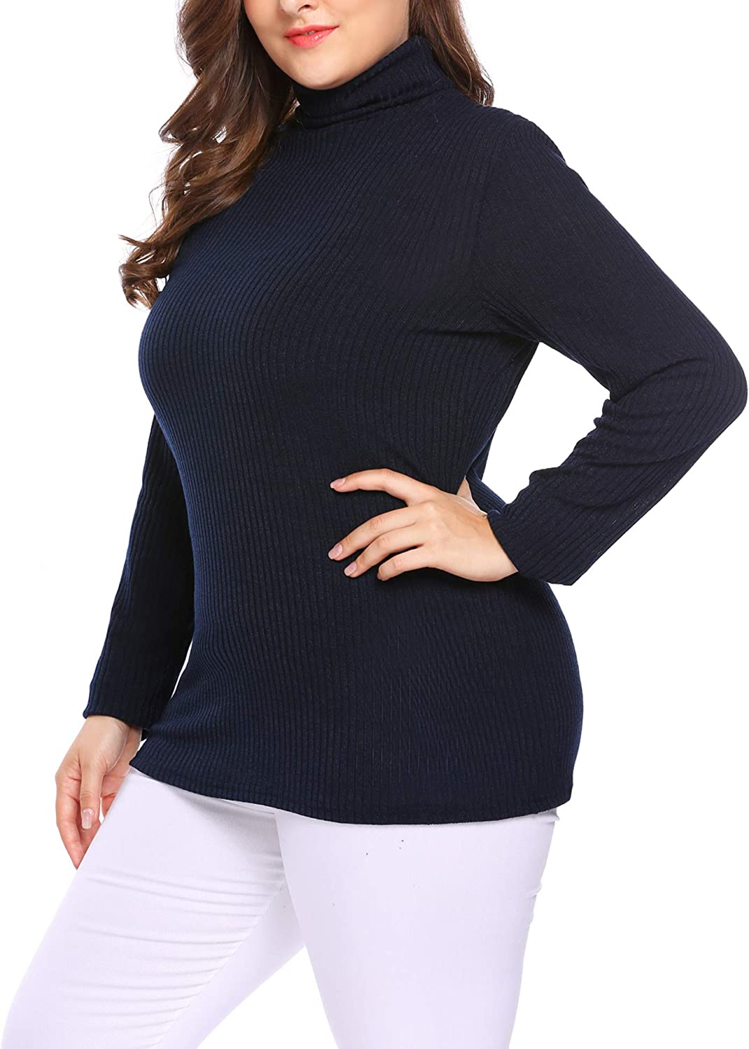 INVOLAND Womens Plus Size Turtleneck Lightweight Long Sleeve Top Rib Knit Pullover Sweater
