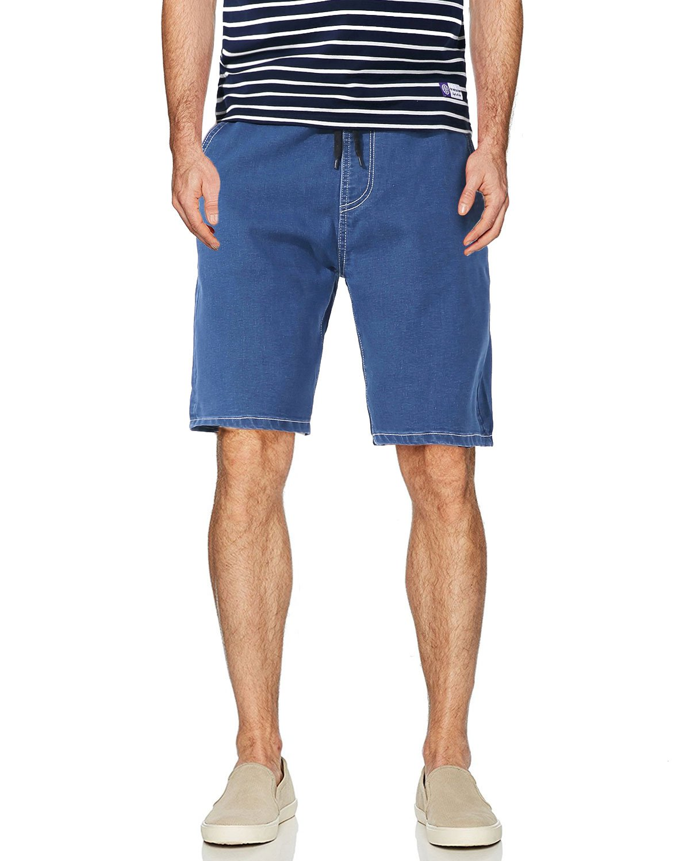 AOMO LOVE Men's Elastic Denim Shorts Casual Denim Shorts Slim Fit Jean Shorts (Light Blue, 32)