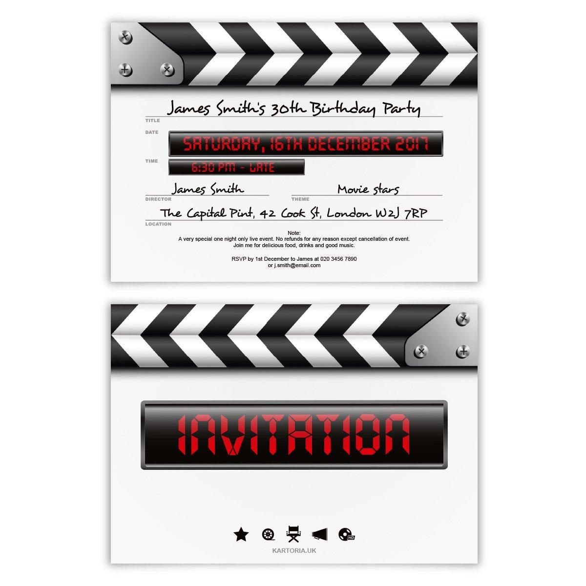 Clapper Board Invitation Theme   www.topsimages.com