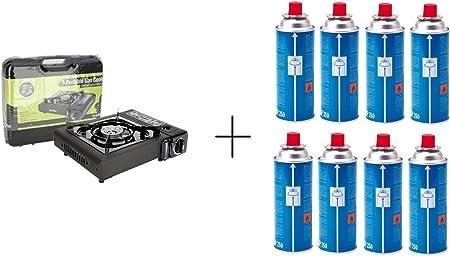 Cocina de Gas Estufa Portable Camping Sivitec + Campingaz CP250 resellable cartucho de Gas - , 8 unidades