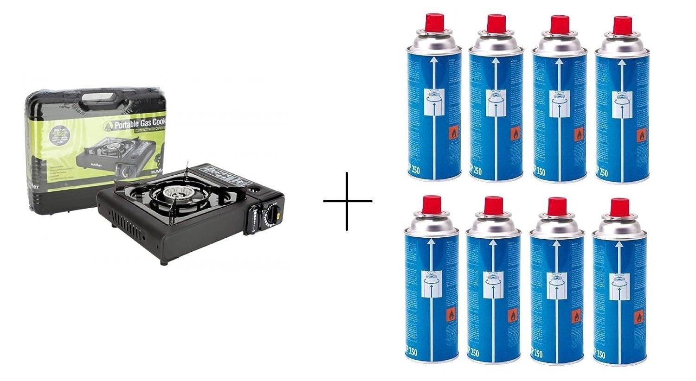 Cocina de Gas Estufa Portable Camping Sivitec + Campingaz CP250 resellable cartucho de Gas - , 8 unidades: Amazon.es: Deportes y aire libre