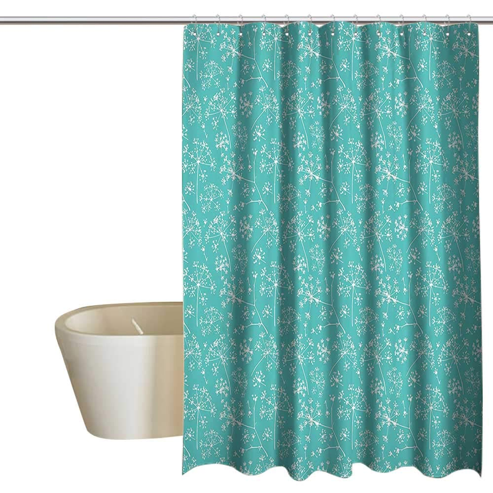 EwaskyOnline Turquoise Decor Collection Shower Curtain with Hooks Delicate Umbrellas Parsley Dill Blossom Wildflower Summertime Plants Pattern Wide Shower Curtain W72 x L84 Tiffany Blue White