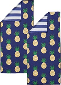 """Great Bay Home Lightweight Reversible Quick Dry Microfiber Beach Towel. Compact for Travel, Beach, Pool, and Boating. Venice Collection. (2 Pack - 35"""" x 78"""" Pineapple/Stripe)"""
