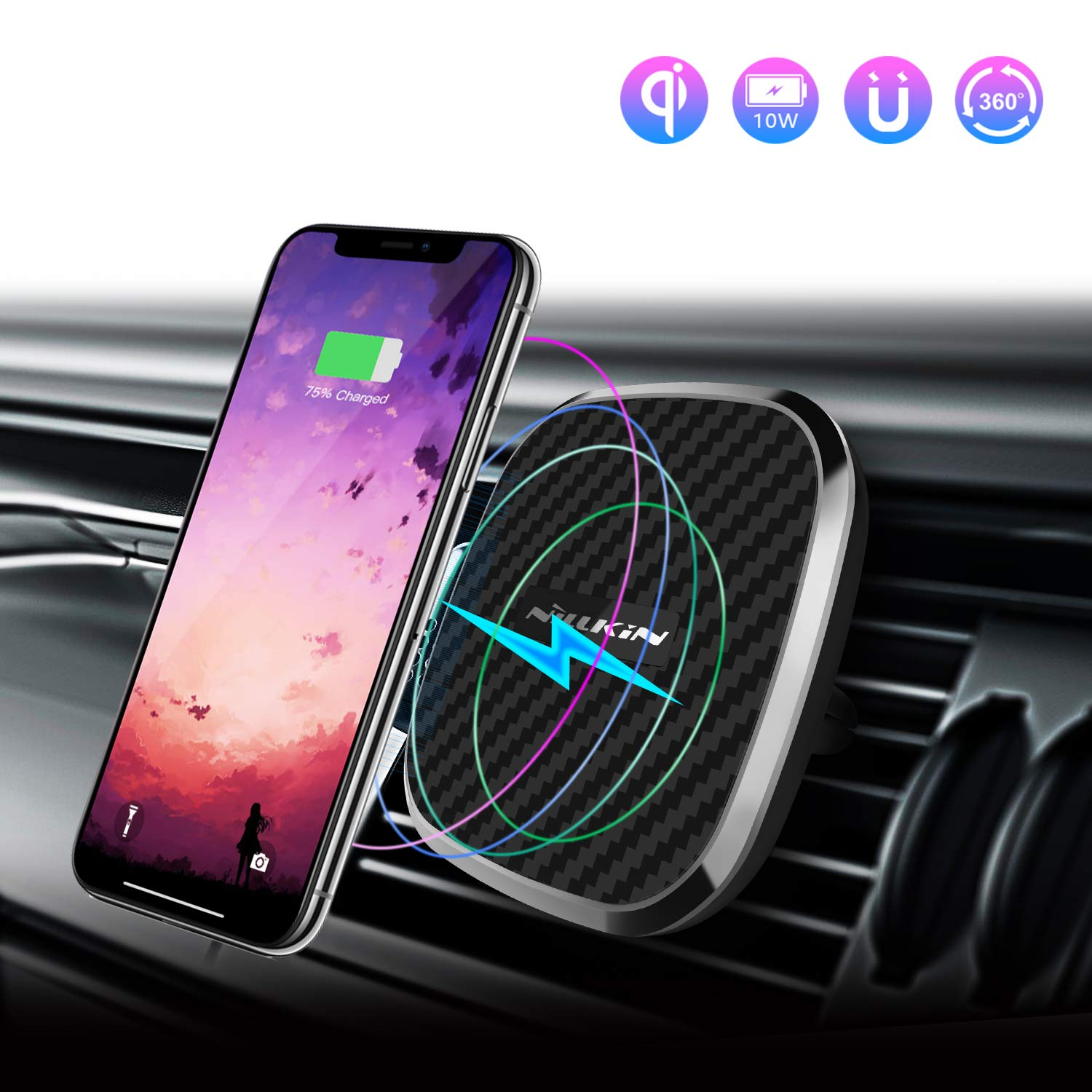 Nillkin Wireless Car Charger, 10W Fast Charge Qi Magnetic Car Air Vent Mount Compatible with Samsung Note 9/8/S9/S8 Plus, Fast Charging 7.5W for iPhone Xs MAX/XS/XR/X/8 Plus-Model B by Nillkin