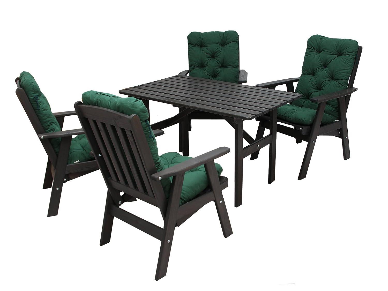 Ambientehome 90497 Gartengarnitur Gartenset Sitzgruppe verstellbarer Hochlehner Varberg taupe grau braun inkl. grüne Kissen und Tisch Hanko 120x70 cm 9-teiliges Set