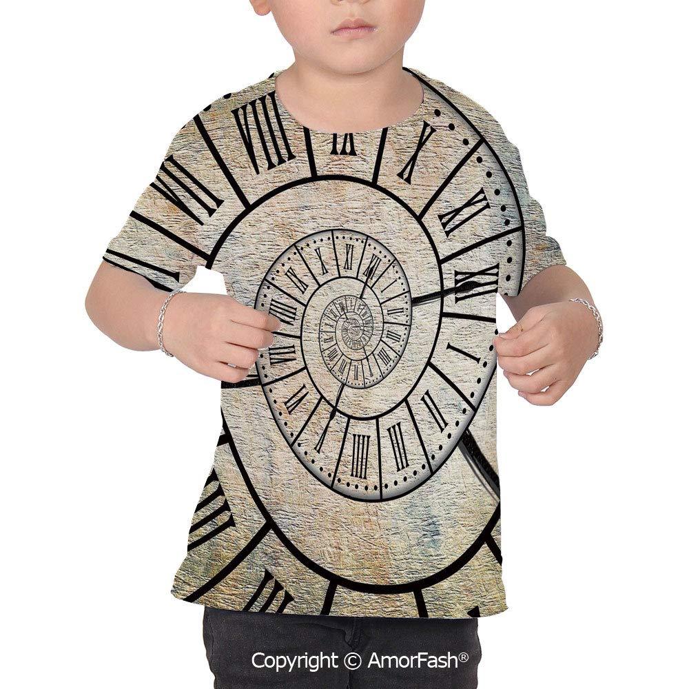 Clock Decor Girl Regular-Fit Short-Sleeve Shirt,Personality Pattern,A Roman Digi