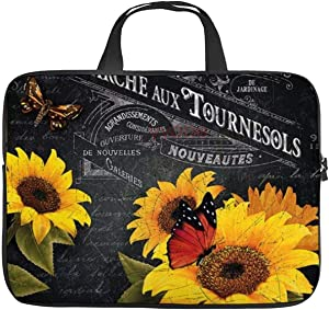 Neoprene Sleeve Laptop Handbag Case Cover Vintage Sunflower with Butterfly Stamp Retro Letter Patchword Portable MacBook Laptop/Ultrabooks Case Bag Cover 15-15.6 Inch