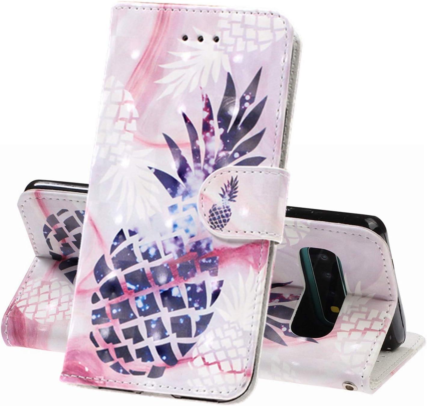 XINYIYI Estuche para Samsung Galaxy S10(5G) Bookstyle Estuche Pintado Pintado PU Funda de Cuero Flip Flap Funda Protectora TPU Funda de Silicona para Samsung Galaxy S10(5G) -Piña: Amazon.es: Electrónica
