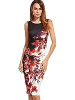 Floerns Women's Floral Print Sleeveless Split Cocktail Party Bodycon Dress