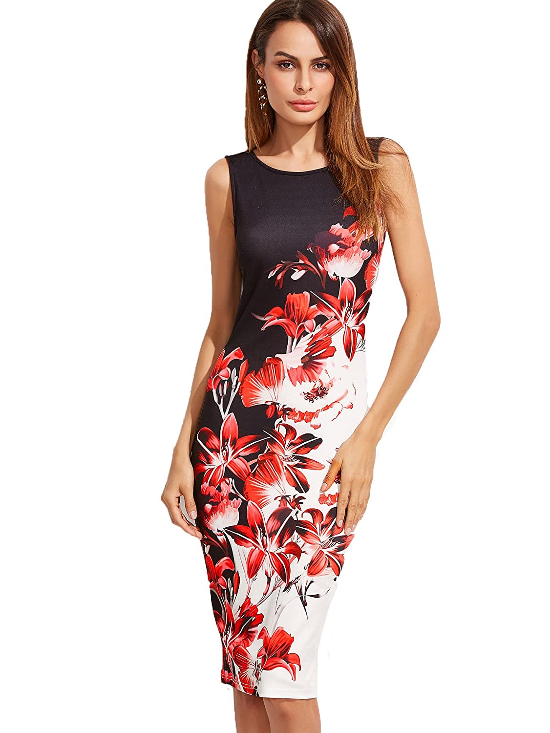 1de5d937d860 Floerns Women s Floral Print Sleeveless Split Cocktail Party Bodycon Dress  at Amazon Women s Clothing store