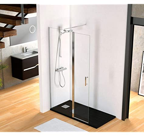Mamparas de Ducha Panel Fijo + Lateral Movible 8mm Antical Barra 70-120cm - 50x30x200cm: Amazon.es: Bricolaje y herramientas