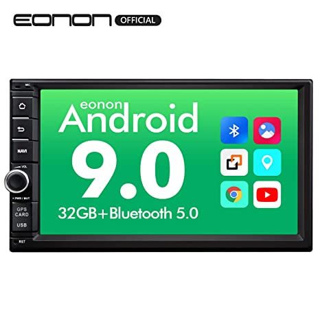 Eonon Head Unit Android Auto and Carplay Android 9 0 Double Din Car Stereo  with Bluetooth 5 0, 7 Inch 32GB ROM Car GPS Navigation Head Unit, Support