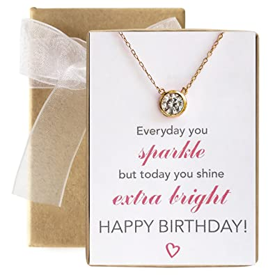 Amazon Com Amy O Gold Necklace Birthday Gift Message Gift Pendant