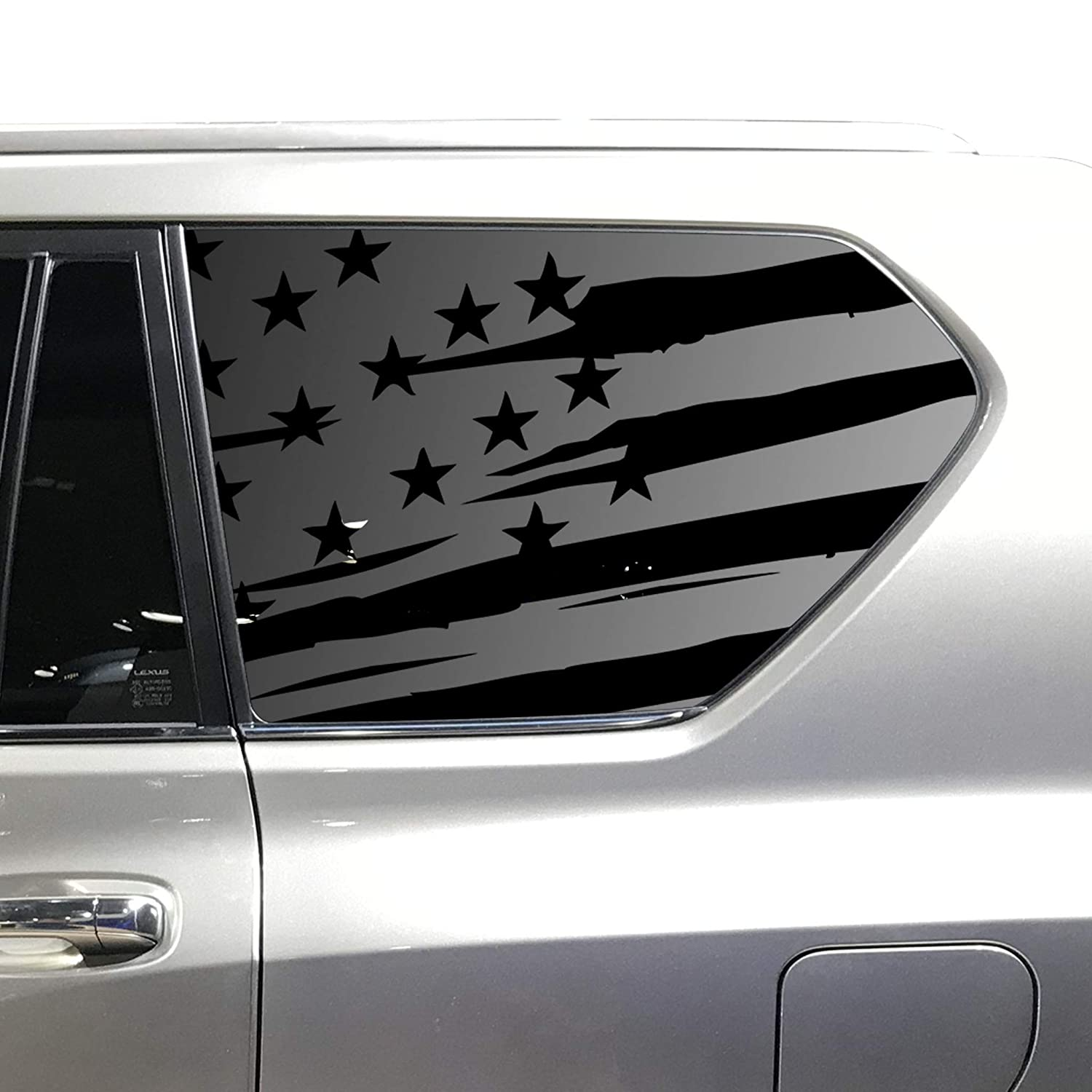 Custom Design XR1-GX1.A Distressed USA Flag Decals For 2010-2020 Lexus GX460-3rd Windows