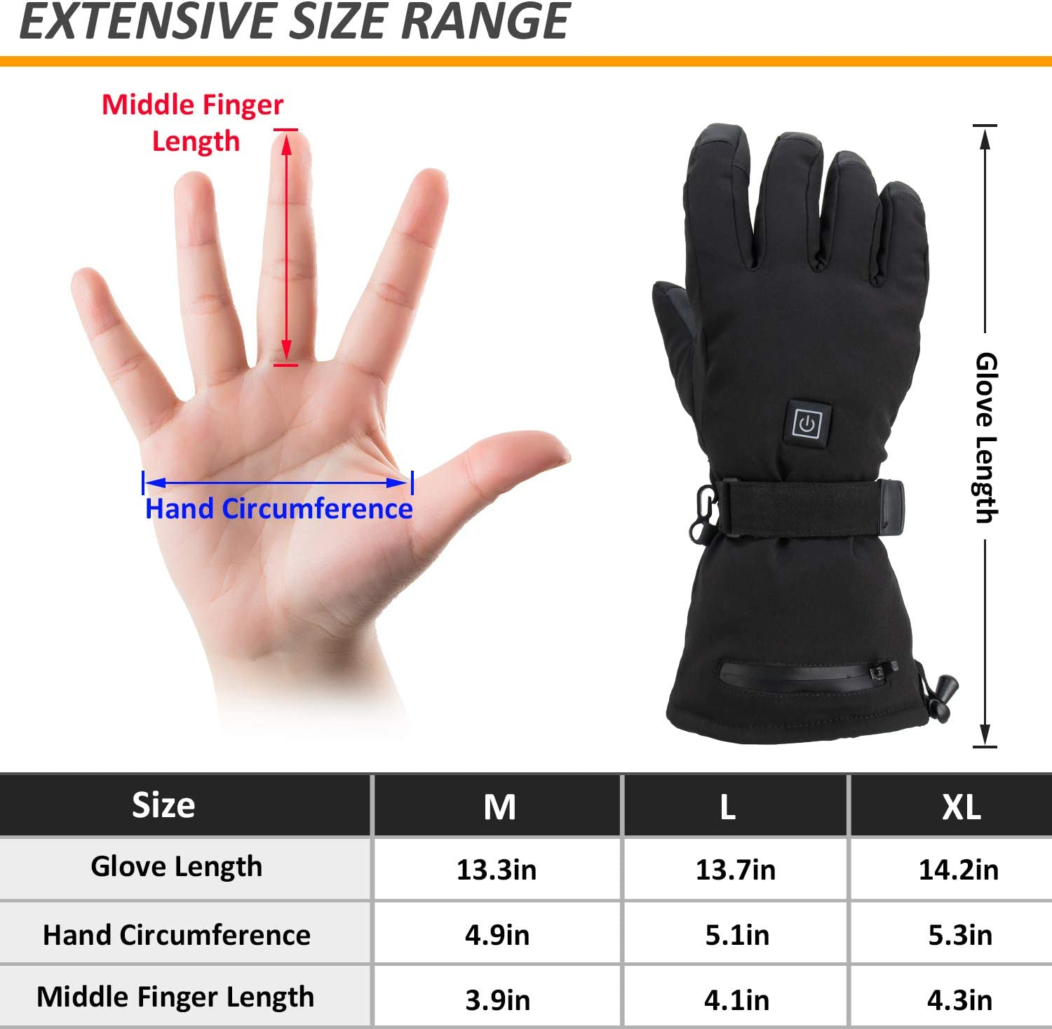Hiking 3.7V //3600MAH-Thermal Insulate Gloves for Climbing 2020 Latest Electric Heated Gloves with Rechargeable Battery Thermal Gloves Hand Warmer Gloves 3 Levels Temperature Control Skiing 3M