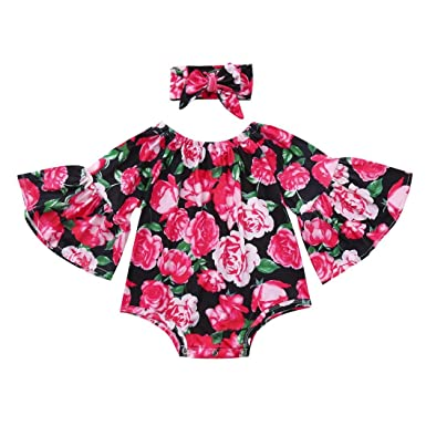 bef63e3aa Girls Clothes Set,Infant Newborn Baby Girl Flare Long Sleeve Jumpsuit  Floral Print Bodysuit Romper+Bowknot Headband Hairband Cute Outfits Set  Clothing: ...