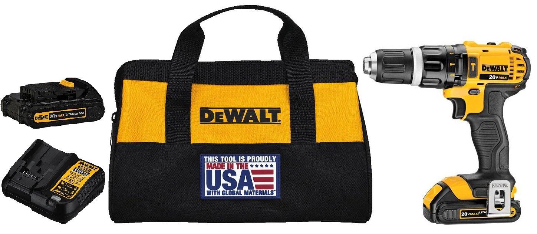 DEWALT DCD785C2 20V MAX Lithium Ion Compact 1.5 Ah Hammer Drill/Driver Kit