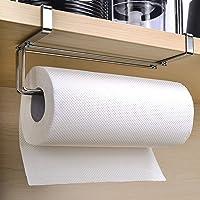 Kitchen Roll Hanger, HOME-MART Stainless Steel Paper Towel Rack Kitchen Towel Rack Bathroom Cabinet Toilet Paper Rack…