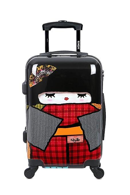 Maleta de cabina Equipaje de mano 55x40x20 Maleta juvenil trolley de viaje Ryanair Easyjet Maleta de viaje Rígida JAPAN DOLL (Preparada para Cargar ...