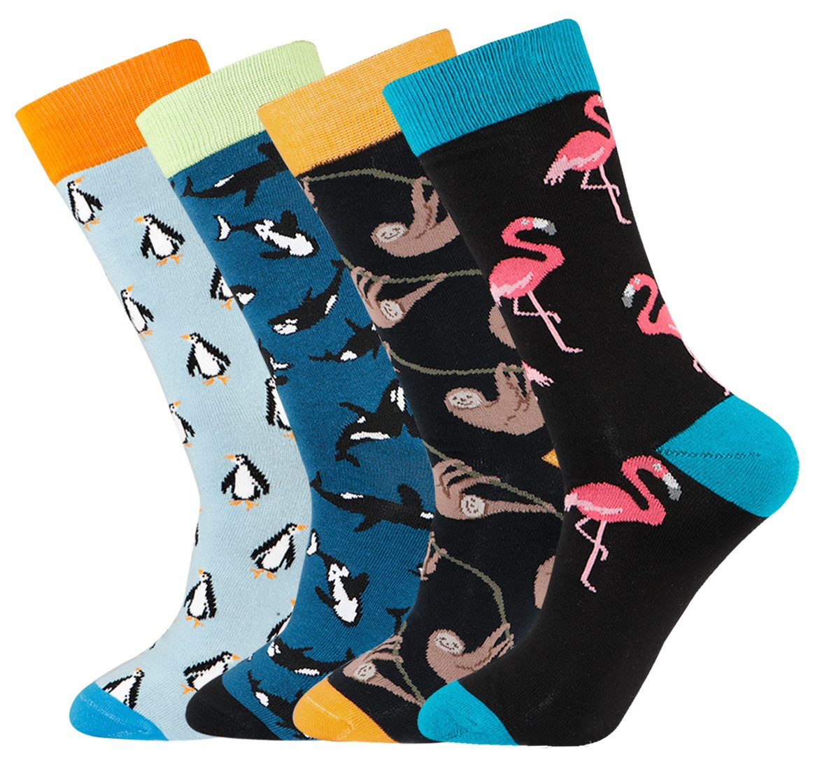 Men's Fun Penguin Animal Patterned Casual Cotton Crew Socks 4 Pairs