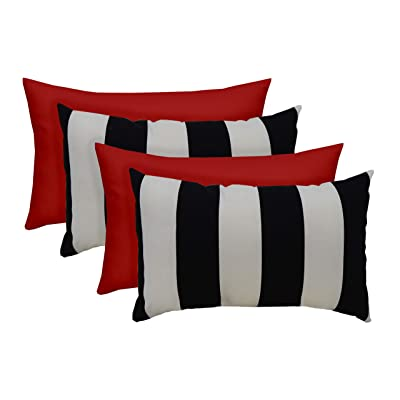 "Set of 4 - Indoor/Outdoor Rectangle Lumbar Decorative Throw/Toss Pillows -2 Black & White Stripe & 2 Choose Color - Choose Size (20"" x 12"", Red): Arts, Crafts & Sewing"